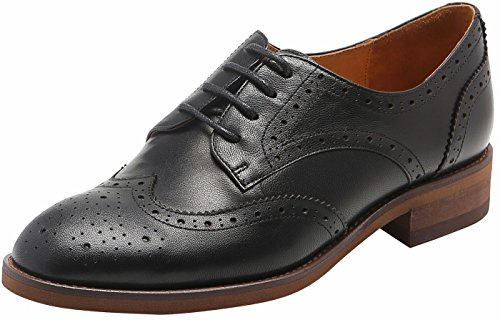 U-lite Women's Perforated Lace-up Wingtip Pure Color Leather Flat Oxfords Vintage Oxford Shoes Black-2 8.5