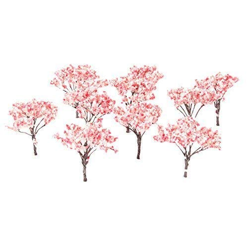 20pcs 6.5cm Blossom Cherry HO OO Scale Model Trees Scenery Railroad Layout ()