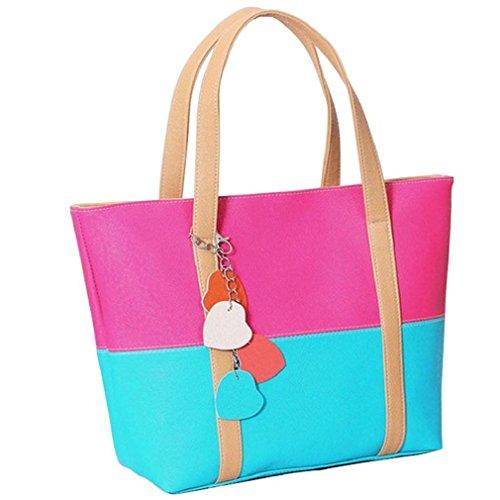(Sugawin Women's Elegent Mixed Color Hot Pink Leather Tote Shoulder Bag)
