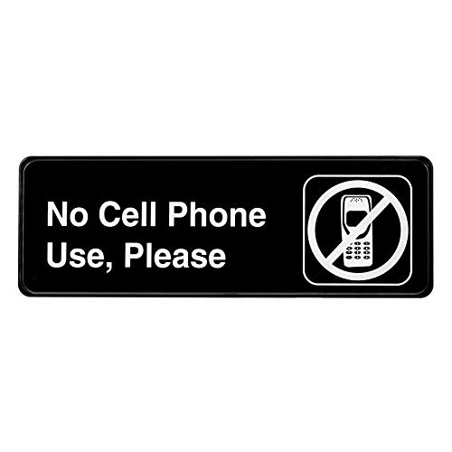 Alpine Industries No Cell Phone Use Sign - Weather Proof Black Plastic No Cellphone/Phones Placard w/Adhesive Back - Easy Wall Post for Work, School Classroom & - Alpine Mobile