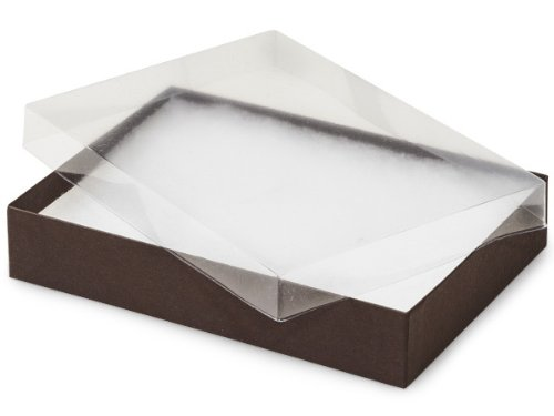 7x5x1-1/4'' Clear Lid Jewelry Boxes Chocolate Base ~non-tarnish Cotton (Unit Pack - 100)