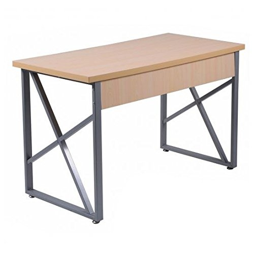 MD Group Computer Table Wooden MDF & Iron Tube Simplistic Large PC Laptop Writing Workstation by MD Group