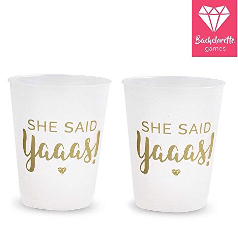 Bachelorette Party Cups // Engagement Party Decorations // 16 She Said Yaaas Cups for Bridal Parties and Bridal Showers // for The Bride who Said Yes! Durable, Sturdy & Reusable Design