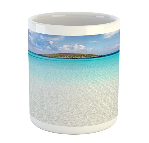 - Ambesonne Ocean Mug, Paradise Beach in Caribbean Water with a Small Island Scene Dream Away Art Print, Printed Ceramic Coffee Mug Water Tea Drinks Cup, Cream Turquoise