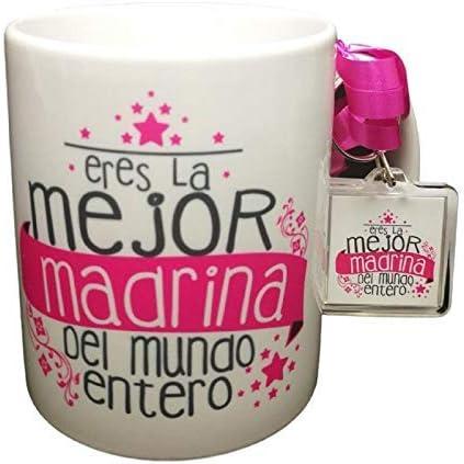 Taza Frase con Llavero Eres LA Mejor Madrina del Mundo Entero Regalo Madrina. Regalo Pascua. Taza Original