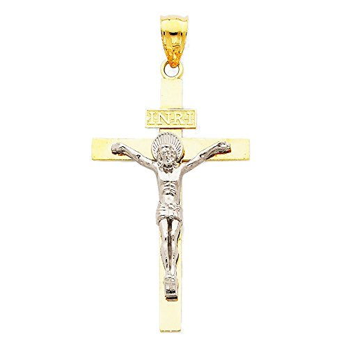 14k White and Yellow Gold I.N.R.I. Cross Charm Pendant - 51mm from Glamerous Gold