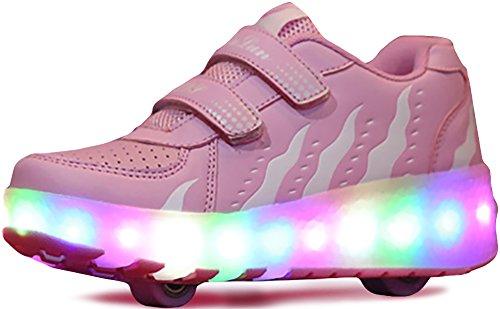 Double Strap Sneakers (UBELLA Kids Girls Boys LED Light Strap Closure Double Wheels Roller Skate Sneakers)