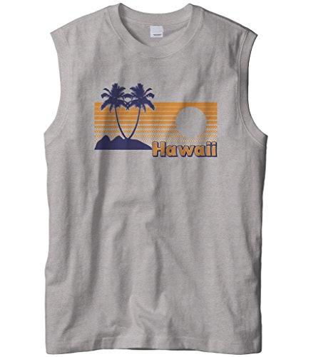 Cybertela Mens Hawaii Hawaiian Hi Sunset Beach Palm Tree Sleeveless T-Shirt