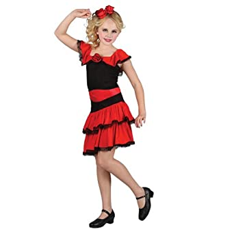 L Girls Spanish Dancer Costume For Spain Mexico Fancy Dress