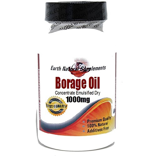 Borage Oil Concentrate Emulsified Dry 1000mg * 200 Capsules 100 % Natural - by EarhNaturalSupplements by Premium
