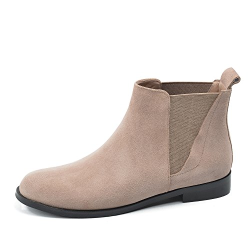 Camel Flat Womens Boots (DONNAIN Women Genuine Leather Boots Spring Flat Heel Round Toe Chelsea Shoes Ankle Booties Women (6.5, Camel))