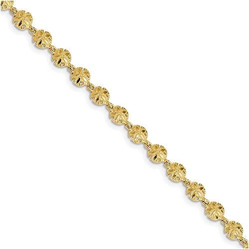 (Lex & Lu 14k Yellow Gold Polished and Textured Sand Dollar Bracelet 7.25
