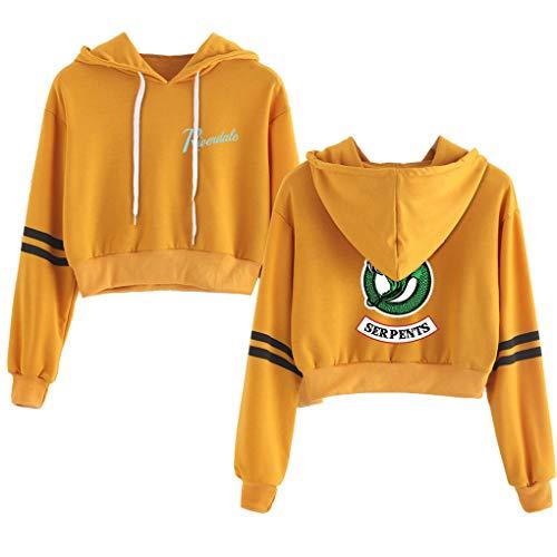 (Memoryee Casual Girls Hoodie Riverdale Sport Crop Top Southside Serpents Print Womens Long Sleeve Pullover Sweatshirt Jumper Yellow2 M)