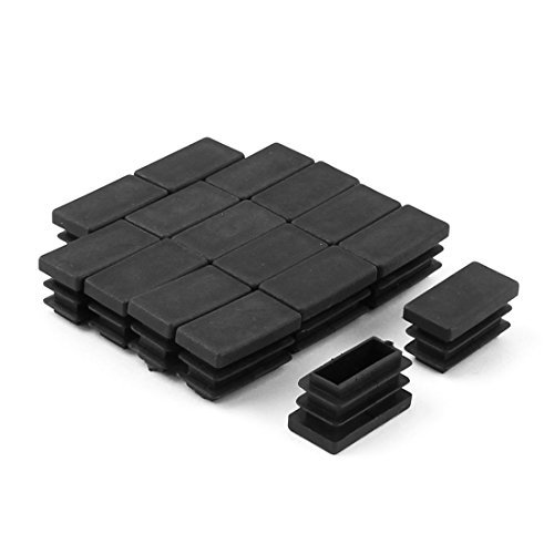 DealMux Plastic Table Chair Legs Rectangle Shape Tube Inserts End Blanking Caps 16pcs Black - 1/2' Racking Tube