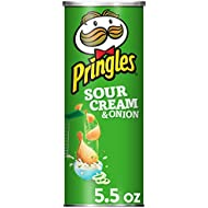 Pringles Potato Crisps Chips, Sour Cream and Onion Flavored, 5.5 oz Can