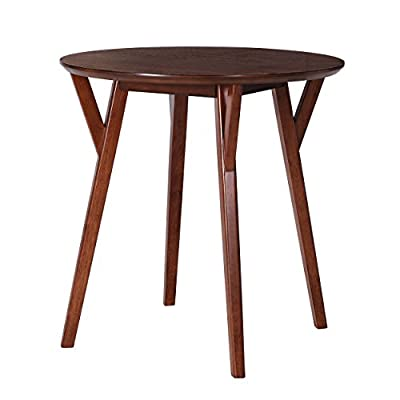 "Furniture HotSpot – Round Dining Table/Bistro Table – Dark Sienna - 30"" W x 30"" D x 30"" H - Kitchen table comfortably seats 2 - 4 adults Midcentury modern dining table features rich dark sienna color Materials: Rubberwood, rubberwood veneer, and engineered wood - kitchen-dining-room-furniture, kitchen-dining-room, kitchen-dining-room-tables - 41i61pKcK3L. SS400  -"
