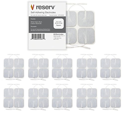"""reserv 40 Pack of 2"""" x 2"""" Premium Re-Usable Self Adhesive Electrode Pads for TENS/EMS Unit, Fabric Backed Pads with Premium Gel (White Cloth and Latex Free) (2 Pack (80 electrodes))"""