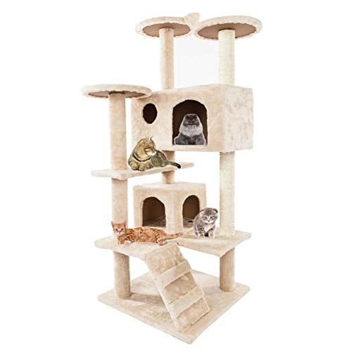 Cat Tree Kitten Multi-Level Activity Tower, Condo with Perches, Basket & Scratching Posts Rope Activity Centre for Kittens -52