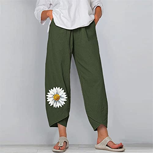 Ladies Trendy Pants, Fashion Trend Casual Chrysanthemum Print Loose Pocket Harem Pants(Green4,M)