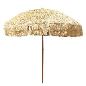 "8'Hula paraguas 16varillas de fibra de vidrio cubierta w/Beige–Rollo (Hula Hoop), 4.33""(11cm) solapa, UPF 50+"