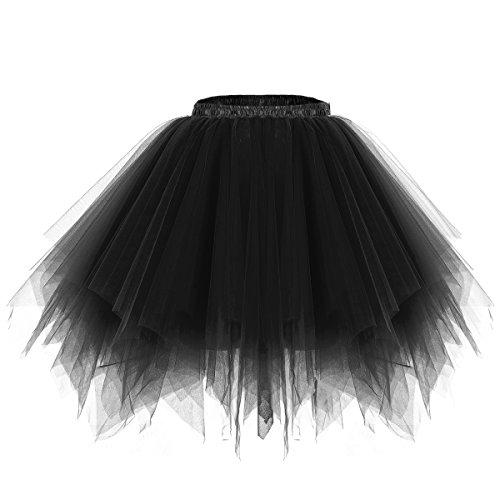 Bridesmay Women's Tutus Tulle Skirt 50s Vintage Petticoat Ballet Bubble Skirts Black XL