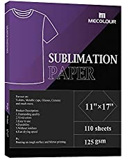 MECOLOUR Sublimation Paper 11x17 Inch 110 Sheets for Any Epson HP Canon Sawgrass Inkjet Printer with Sublimation Ink 125g