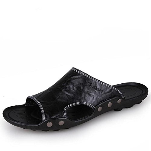 Zapatillas de cuero de los hombres fracasos hechos a mano de la vendimia sandalias de la manera y cómodas Black