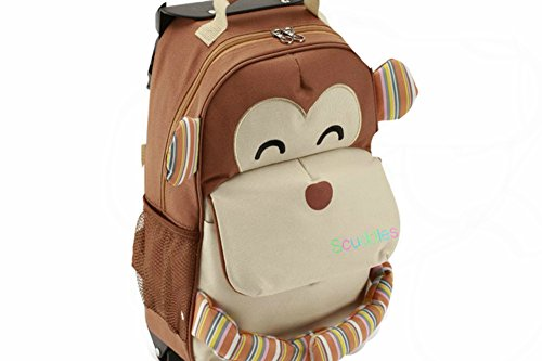 Scuddles Toddler Rolling Backpack - Lightweight Waterproof Quilted Zoo Monkey Trolley School Bag with Heavy Duty Strap - Insulated Travel Luggage Roller Wheeled for Little Kid Girl & Boy (Carry Luggage Wheels On With Kids)