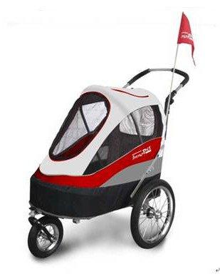 InnoPet® Sporty Trailer Pet Stroller Dogtrailer klappbar faltbar Hundebuggy Hundewagen wandelbar Fahhradanhänger für Hunde Luftreifen inkl. Regenhaube