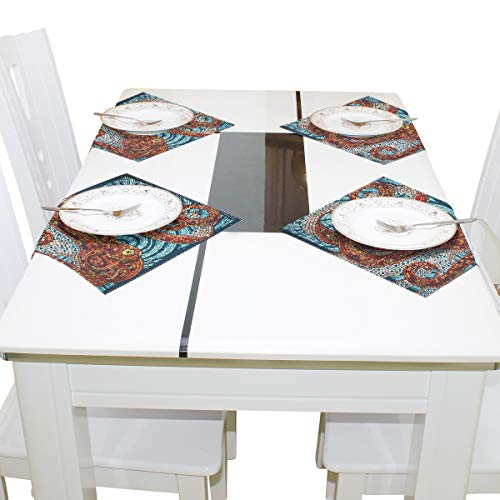 IDO Heat Resistant Placemats for Kitchen Table Mats for Dinning Room,Nautical Mosaic Washable Insulation Non Slip Placemat 12x12 inch Set of 4 -
