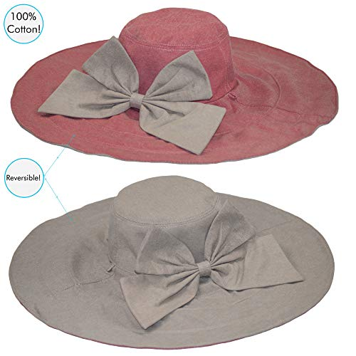 Rosa 2 Pcs Rosa Dazoriginal Parasole Tesa denim Cappello Donna kahki Spiaggia Larga Pioggia 80AqPgz8