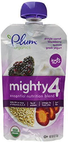 - Plum Organics Tots Mighty 4 Purees - Apple, Blackberry, Purple Carrot, Greek Yogurt, Oat & Quinoa - 4 oz - 6 pk