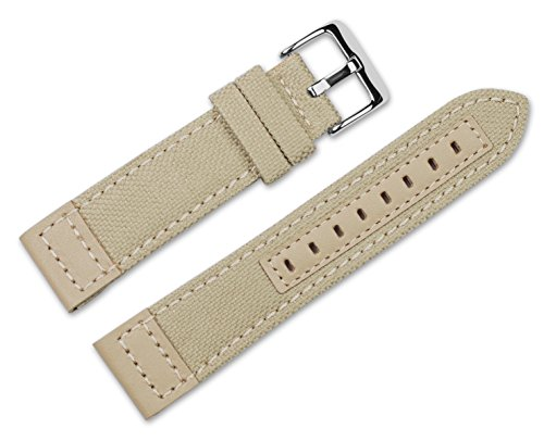 22mm-replacement-watch-band-nylon-canvas-with-leather-trim-tan-watch-strap