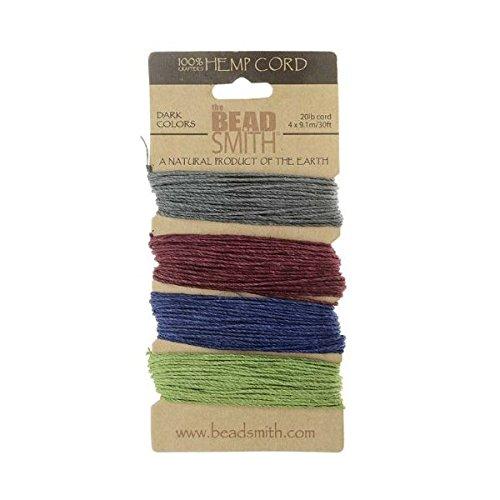 Hemp Twine Bead Cord 1.0mm - Dark Colors App 30 Feet 42560 by - Hemp Beadsmith