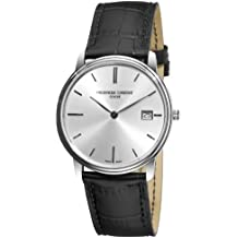 Frederique Constant Men's FC220NS4S6 Slim Line Slim Line Mens Black Leather Strap Watch Watch