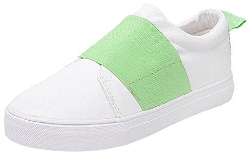 Minetom Mujer Chicas Ocio Estudiantes Lona Zapatos Moda Casual Plataforma Del Holgazán Zapatos Verde