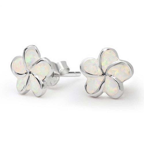 White Plumeria Flower Created Opal Stud Earrings 925 Sterling Silver 13mm October Birthstone (Created Silver Flower Opal Ring)