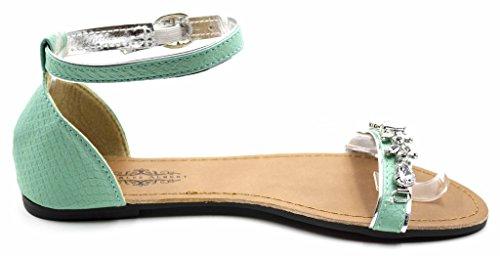 Charles Albert Kvinners Chic Perle Pyntet Sandal Med Adjutable Ankel Strap Turkis