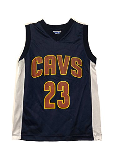 OuterStuff NBA Boys Youth 8-20 Player Name & Number Mesh Replica Jersey (Youth Large 14-16, Cleveland Cavaliers Lebron James Navy)