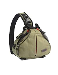 Outdoor Hiking Travel Camping Portable Waterproof Casual Triangle Shape Digital DSLR Camera Storage Messenger Shoulder Bag Case for Canon Nikon Sony Army Green