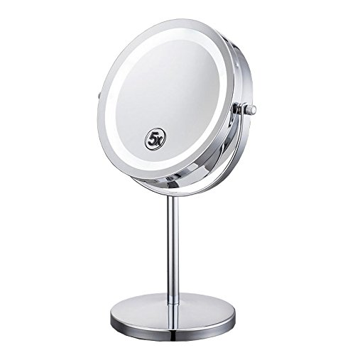 Makeup Mirror Cosmetic Tabletop LED Lighted Double Side Magnifying (Round Table Extending To Oval)