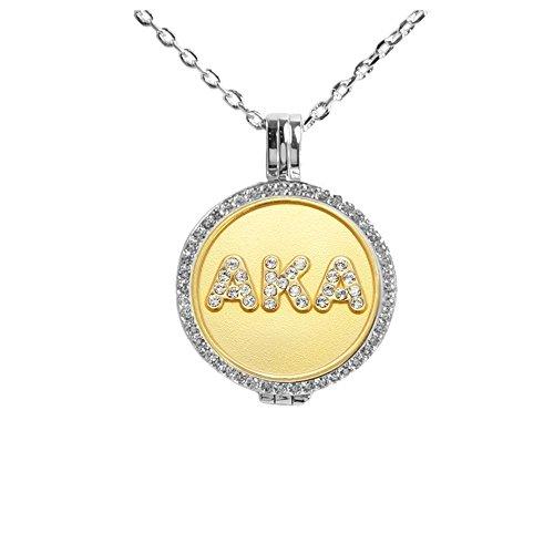 Navika Alpha Kappa Alpha Silver Swarovski Crystal Locket
