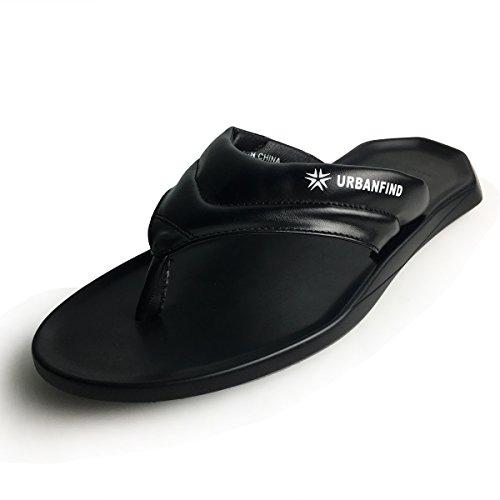 URBANFIND Men's Flip Flops Shoes Classic PU Leather Thong Sandals Black, 11 D(M) US -