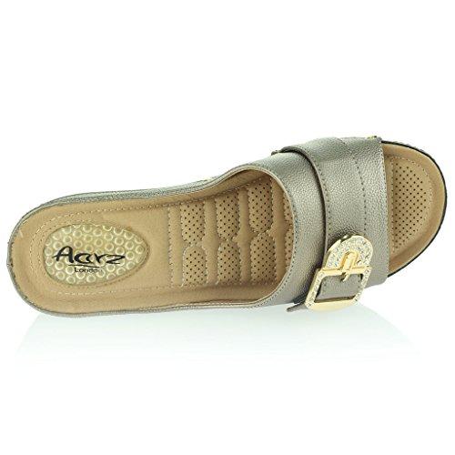 Mujer Señoras Puntos de Presión Amortiguado Respirable Suave Flexible Antideslizante Único Masaje Casual Ponerse Tacón de Cuña Sandalias Zapatos Talla Gris