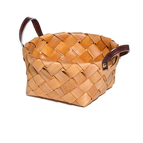 Handmade Wood Chip Weaving Storage Basket Fruit Picnic Basket Kitchen Debris Storage Basket Leather SMMBM