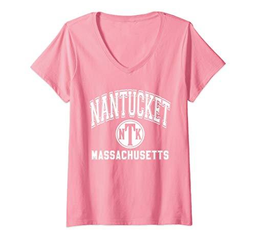 Womens Nantucket NTK Varsity Style Pink with White Print V-Neck T-Shirt