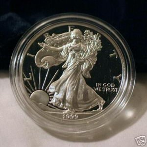 1999 AMERICAN SILVER EAGLE PROOF $1 DOLLAR COIN W/BOX