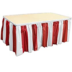 4 pack Red & White Striped Table Skirt Carnival Circus decorations by Oojami