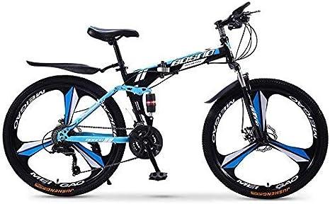 YUHT Bicicleta de montaña, Bicicleta Plegable de 24 Pulgadas, Bicicletas de Acero al Carbono, Bicicleta Doble de Velocidad Variable para Adultos, Bicicleta de Hombre para Sendero, Sendero y montañas: Amazon.es: Deportes y
