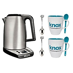 KRUPS BW3140 SAVOY Adjustable Temperature LCD Display Electronic Kettle Brushed Stainless Steel Housing, 1.7-Liter, Silver + Free Knox Mugs + Demi Spoons